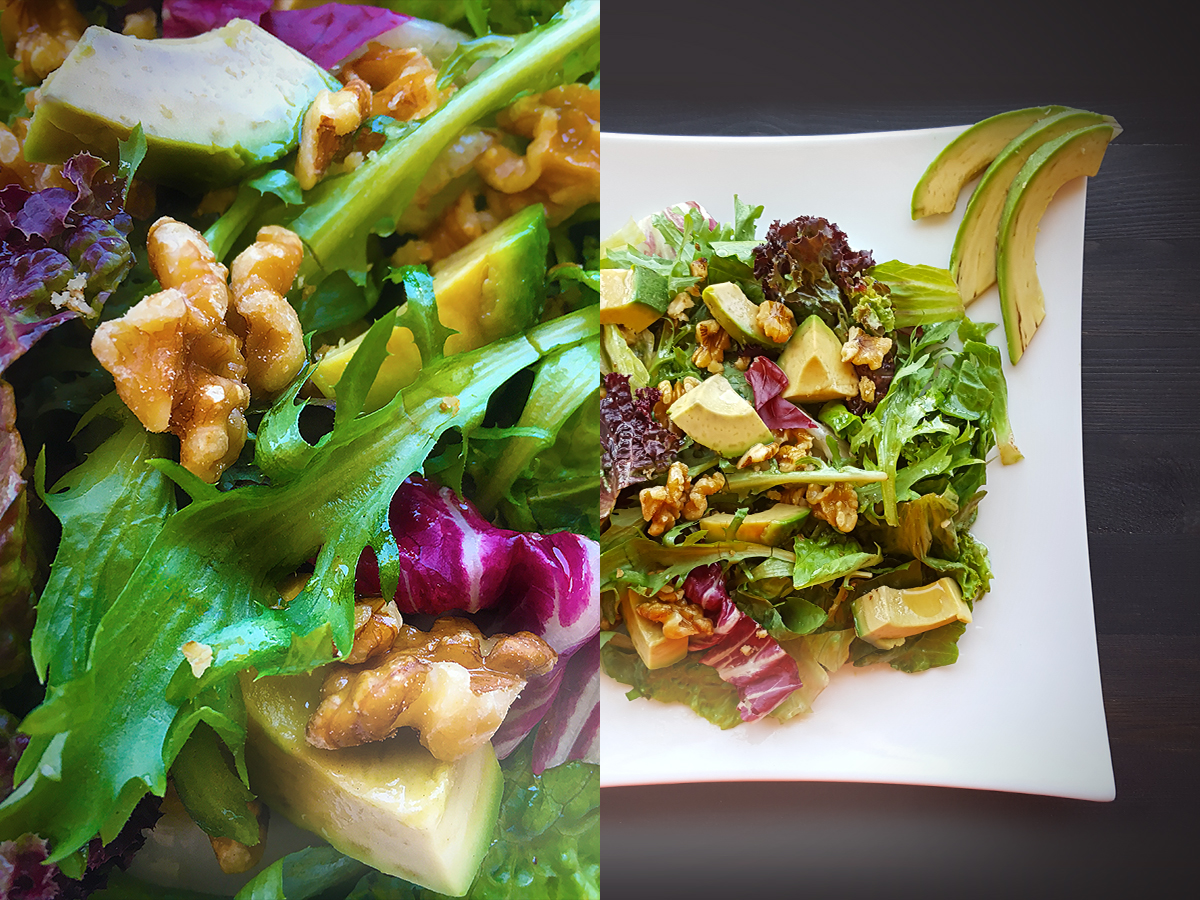 Salad with avocado and walnuts