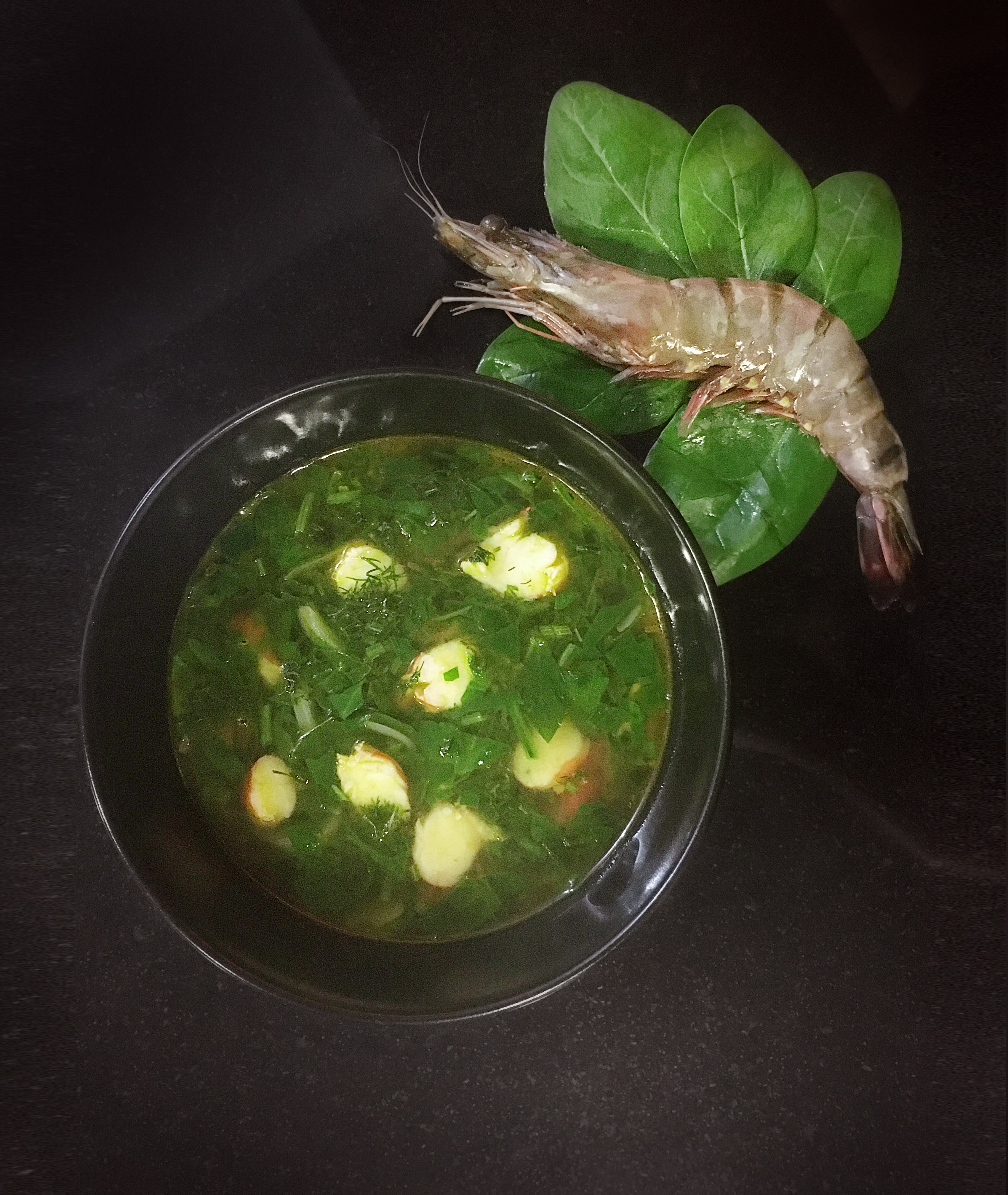 Soup with Spinach, Shrimp and Dill